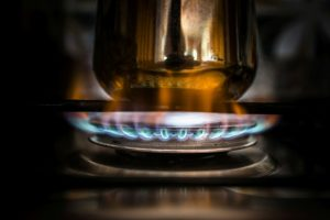 cooking coffee on gas stove